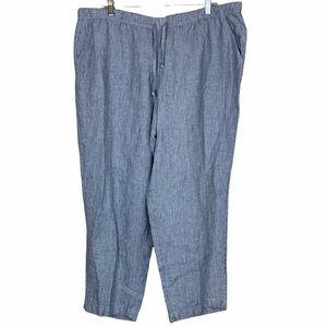 J Jill Linen Seersucker Beachy Wide Leg Crop Pants